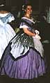 1860 evening dress, periwinkle blue silk, with grey taffeta overskirt and deep blue trim