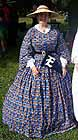 1860 day dress, blue cotton print, reproduction cotton from South Seas Imports, windowpane print