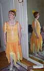 1920s eveing dress, orange and yellow silk chiffon.