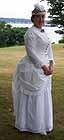 1880 day dress, white cotton, embroidered eyelet